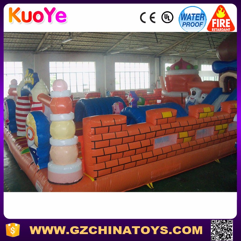 Kids inflatable amusement park games with slide,popular inflatable fun city