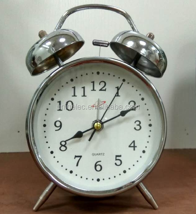TABLE TOP DECORATIVE METAL TWIN BELL ALARM CLOCK
