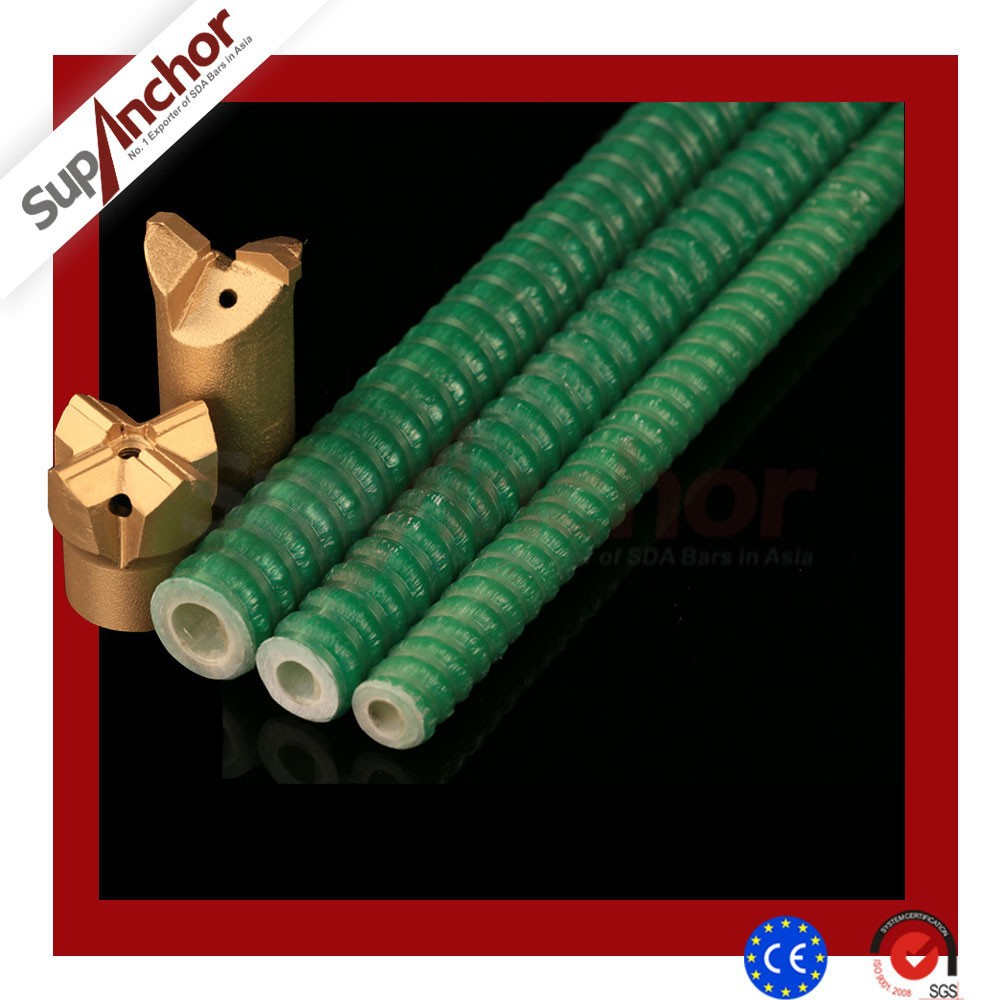 Full Thread Profile SupAnchor hollow FRP Fiberglass Self Drilling Rock Bolt