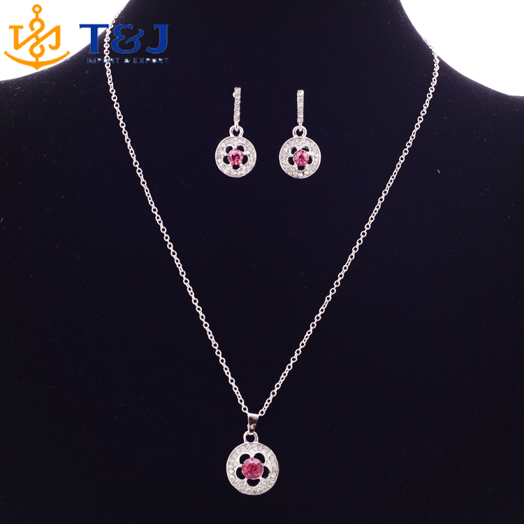 Fashion Bridal Jewelry Sets Hot Sale Classic Pink silver Plated Circle flower Crystal Rhinestone Earrings Necklaces jewelery Set