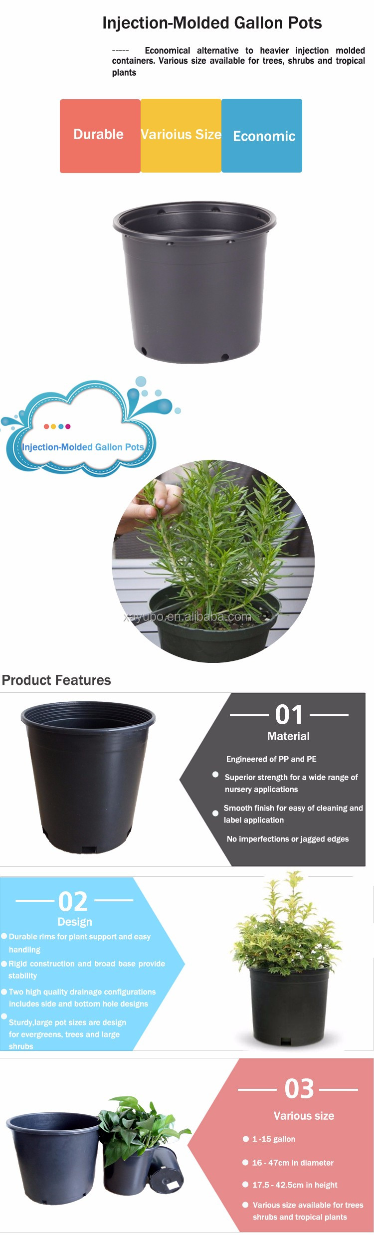 hot sale 4L,7.5L,10L,12L,20L,25L,35L plastic black gallon flower pot