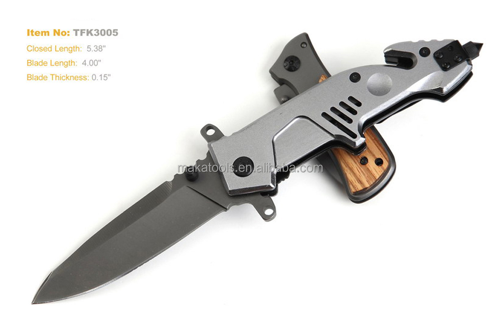 Spring assisted folding pocket knife for camping hunting with titanium coating