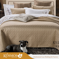3pcs king plain quilted satin bedspreads