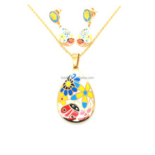 IPG Gold Plated Stainless Steel Rainbow Color Enamel Cute Animal Ladybug With Flower Image Pendant Womens Necklace Jewelry Set