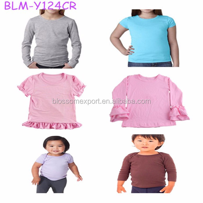 2017 New Style Plain Cotton Kids 3/4 Sleeve Raglan T Shirt Adult Icing Ruffle Raglan Shirt Mommy and Me Raglan Shirts