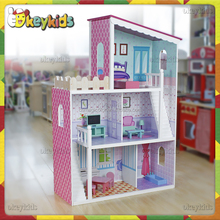 2016 wholesale kids wooden doll house,top fashion baby wooden doll house,most popular children wooden doll house W06A137