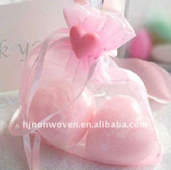 Glitter sheer snow organza pouch bag/Saint Valentine's Day gift organza bag packaging/candy bag