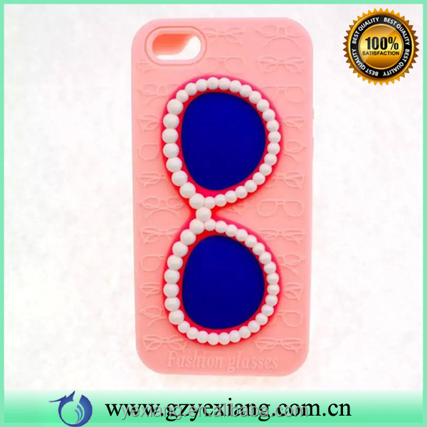 Cell phone accessories fashion pearl glasses design silicone cover case for iphone 6 case