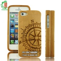 A Compass Pattern Design For Iphone5,High Quality Cherry Wood Case For Iphone5