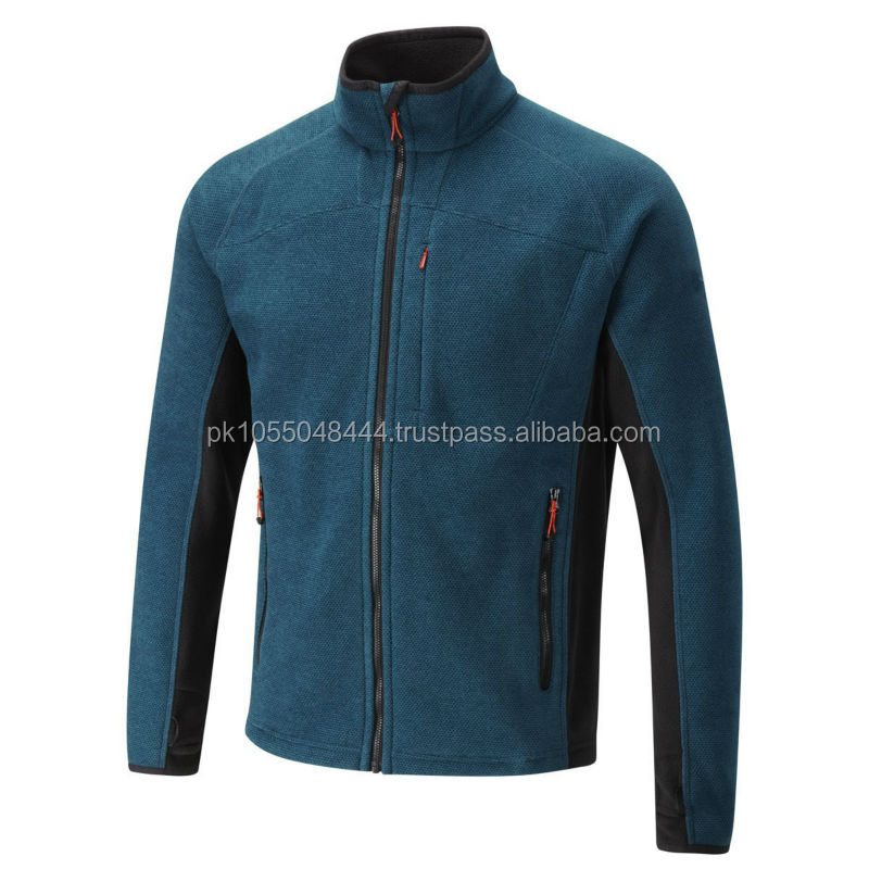 light blue fleece winter men Jacket with long neck and front zip, available all colors and sizes