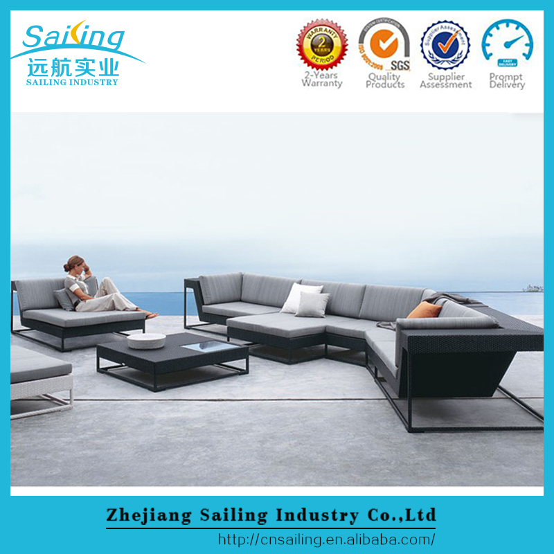 Hot Sale Alum Frame Outdoor Furniture Garden Rattan Lounge Corner Sofa Set