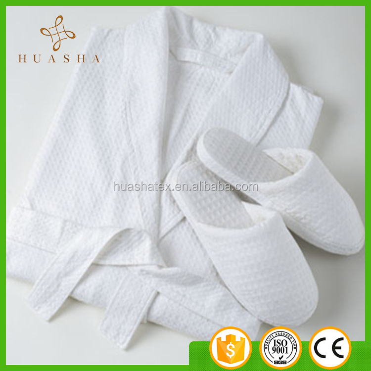 Hot sale Soft touch White color Hotel Bathrobe set with slippers