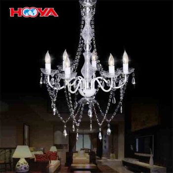 6-light Transparent Elegant Crystal Chandelier Ceiling Lighting Pendant Lamp