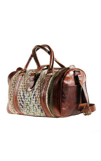 Mixed genuine leather and kilim bag