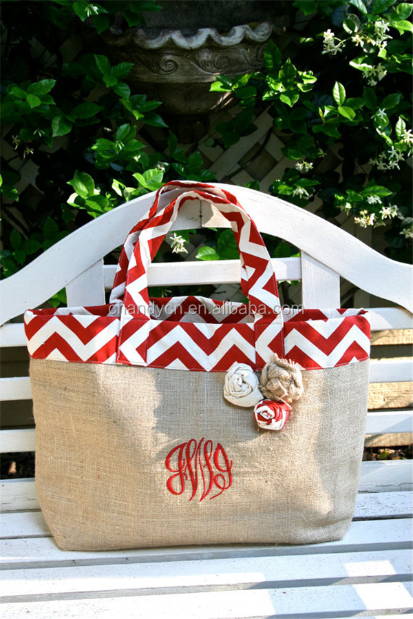 Monogram Chevron and Burlap Beach Tote Bag