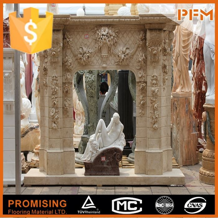 hot sale natural well polished hand carved cast iron fireplace co
