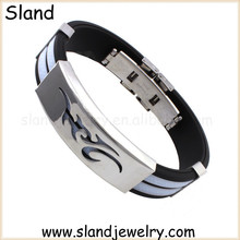 Sland unique design silicone allergy bracelet for boys, with fire totem hollowed on stainless steel plate