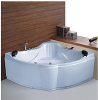 SMT026, 1500mm double 2 person whirlpool massage corner acrylic bathtub