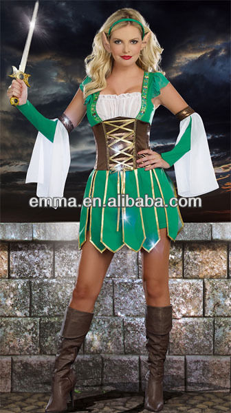 Women's Warrior Elf Fantasy Heroine Wizard Costume Sexy Halloween Costume BW513