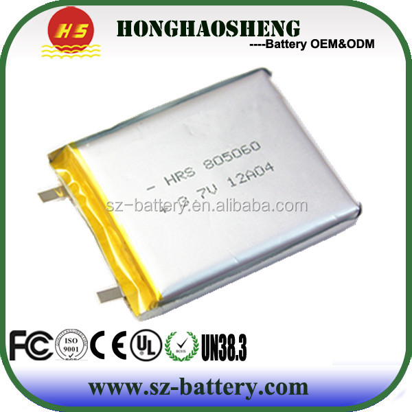 PCB protected 3.7v 2600mah li polymer battery for tablet pc 805060