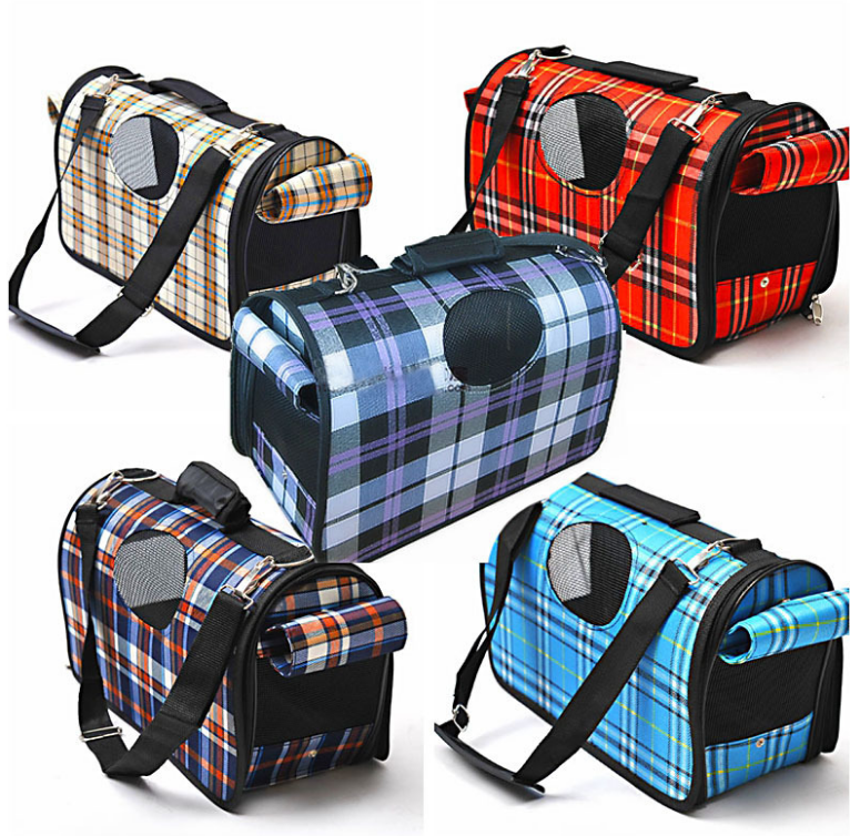 low price dog and cat travel bag Classic lattice dog Roller Bag Oxford outdoor pet bag
