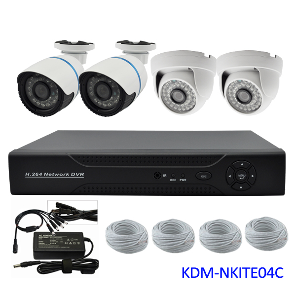 Low cost 4channels 720P ip camera NVR home alarm security system, Plug and play, easy to install!