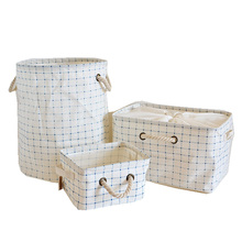 Cotton And Linen Fabric Blue Grid Pattern Folding Large Size New Laundry Storage Baskets With Drawstring