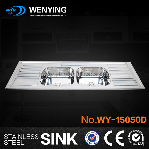 WY-15050D 1.5meter long commercial water basin for modern cabinet resturant kitchen equipment with double bowls and drainboards