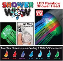 Free shipping 100pcs/lot As seen on TV Led Rainbow colors changing Shower Head Shower Wow