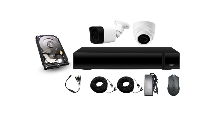 Cantonk1080P 2mp 1pcs bullet and dome camera with 4ch DVR cctv kit