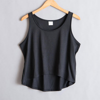 MOQ 3 Pieces Plain White Black Soft Cotton Womens Crop Gym Tank Tops for Custom Print and Embroidery