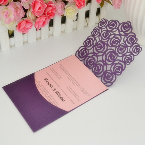 wedding invitation pockets laser cut pocket fold invitations ,romantic rose pocket invitaion and greeting card