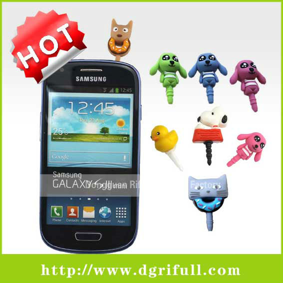 cartoon series silicone phone plugy for dustproof