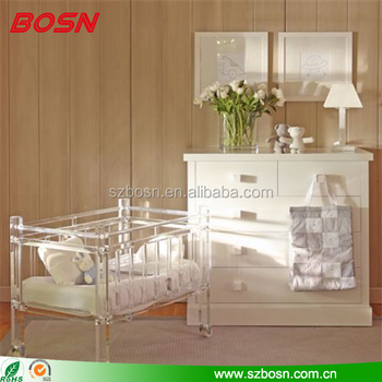 Luxury high quality lucite acrylic baby cribs perspex furniture kid cot for home decoration