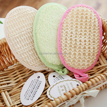 Disposable oval pure natural loofah shower mat/hotel bath scrubs