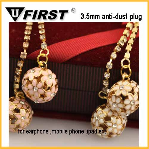 Hot sale crystal ball cel phone dust cover plug with chain