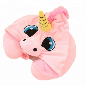 Hot design plush unicorn neck pillow with hat En71 testing Factory directly