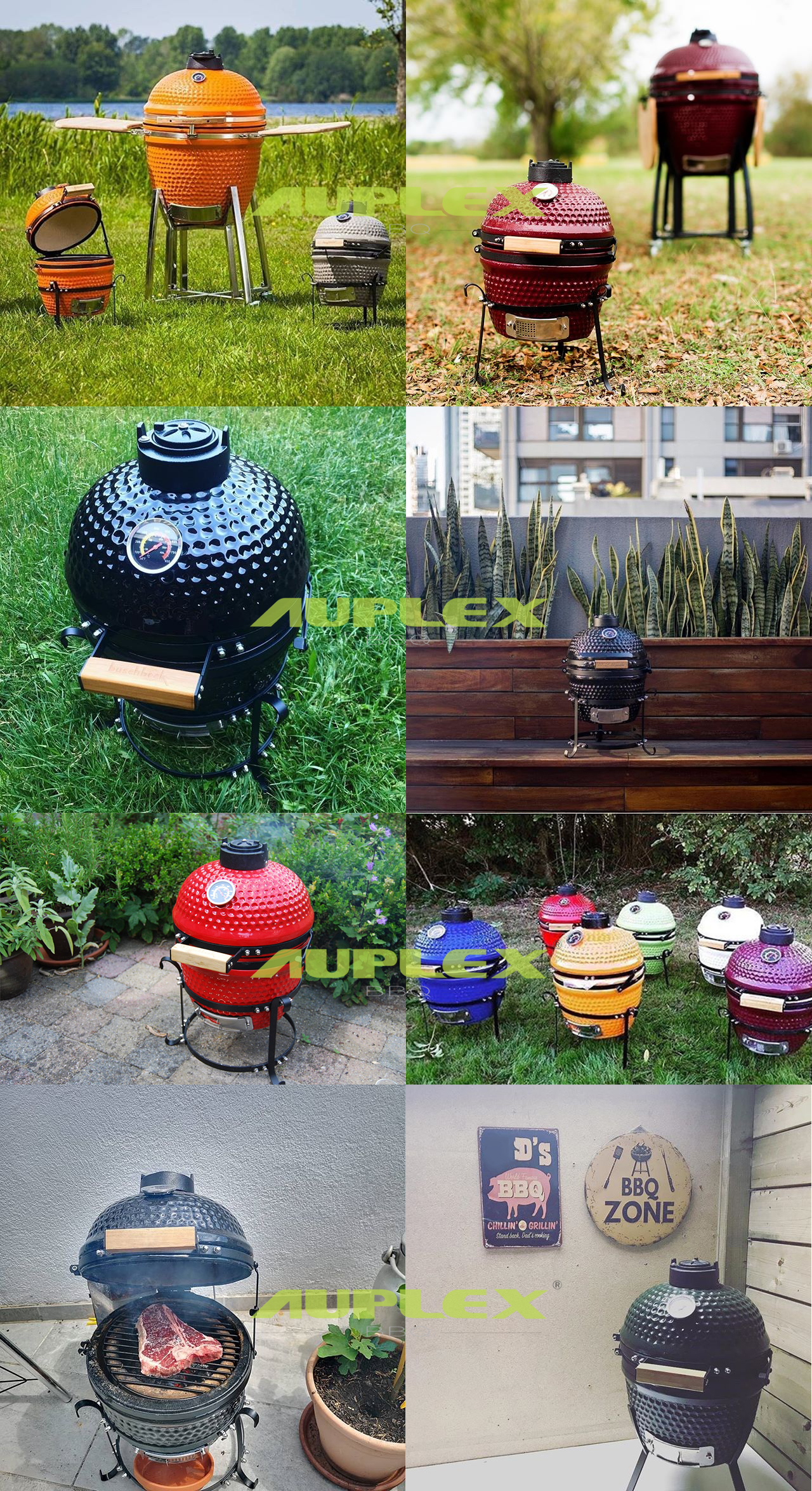 Outdoor Portable Charcoal 13 Inch Barbecue Ceramic Kamado BBQ Grill