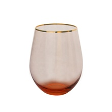 Fairy Tale Hand Blown Tumbler Gold Rim Stemless Wine Glass Pink