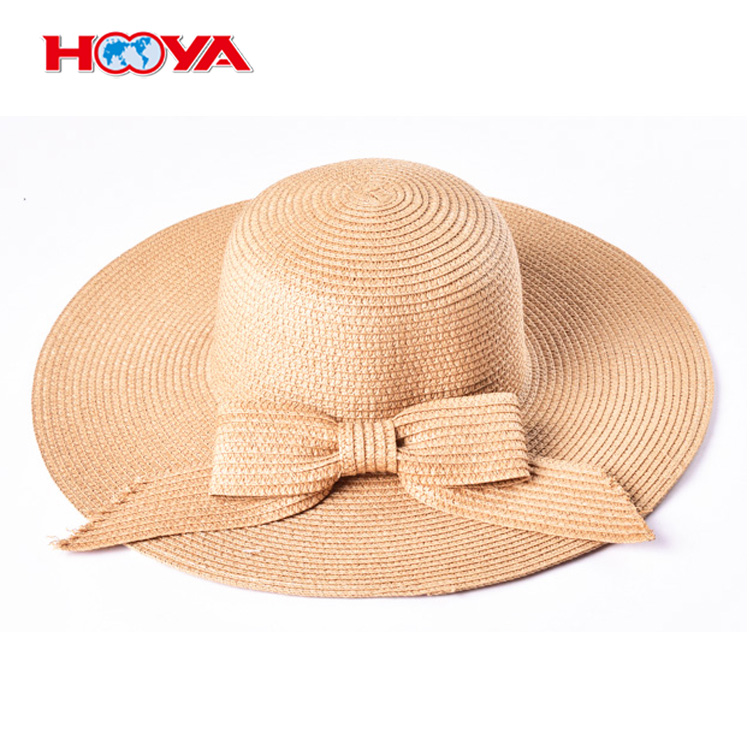 Custom Women's Fashion Beach Straw Boater Hat With Bow Boonie Hat