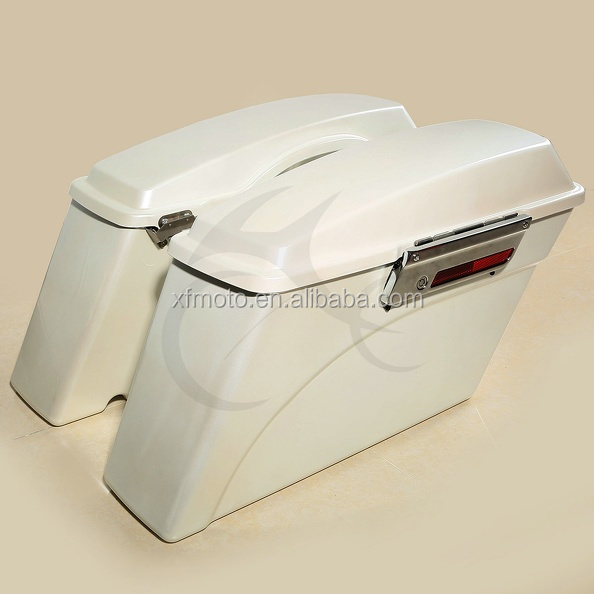 White Hard Saddlebag Trunk w/ Lid Latch For Road King Glide Softail DYNA