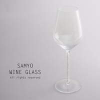 samyo clear crystal large red wine glass with white diamond decoration inside of the stem
