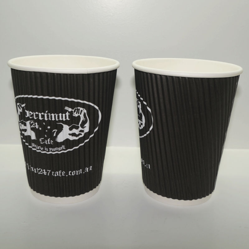 China Wholesale 8 oz Logo Printed Disposable vertical Ripple Paper Cup Black
