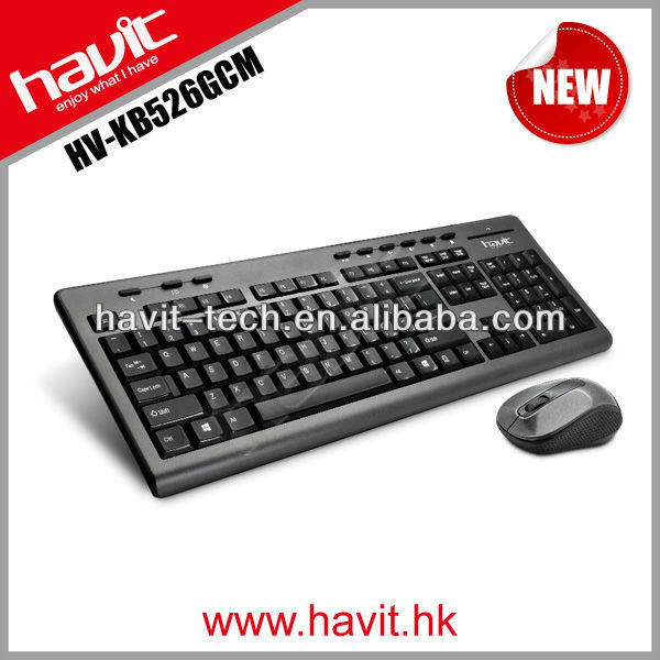 HV-KB526GCM 2.4G laptop wireless keyboard and mouse with high quality