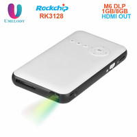 Umelody Hot Mini Mobile DLP M6 Projector Android 4.4 smart Bluetooth 4.0 Quad Core led lamp DLP projector Full HD 1080P