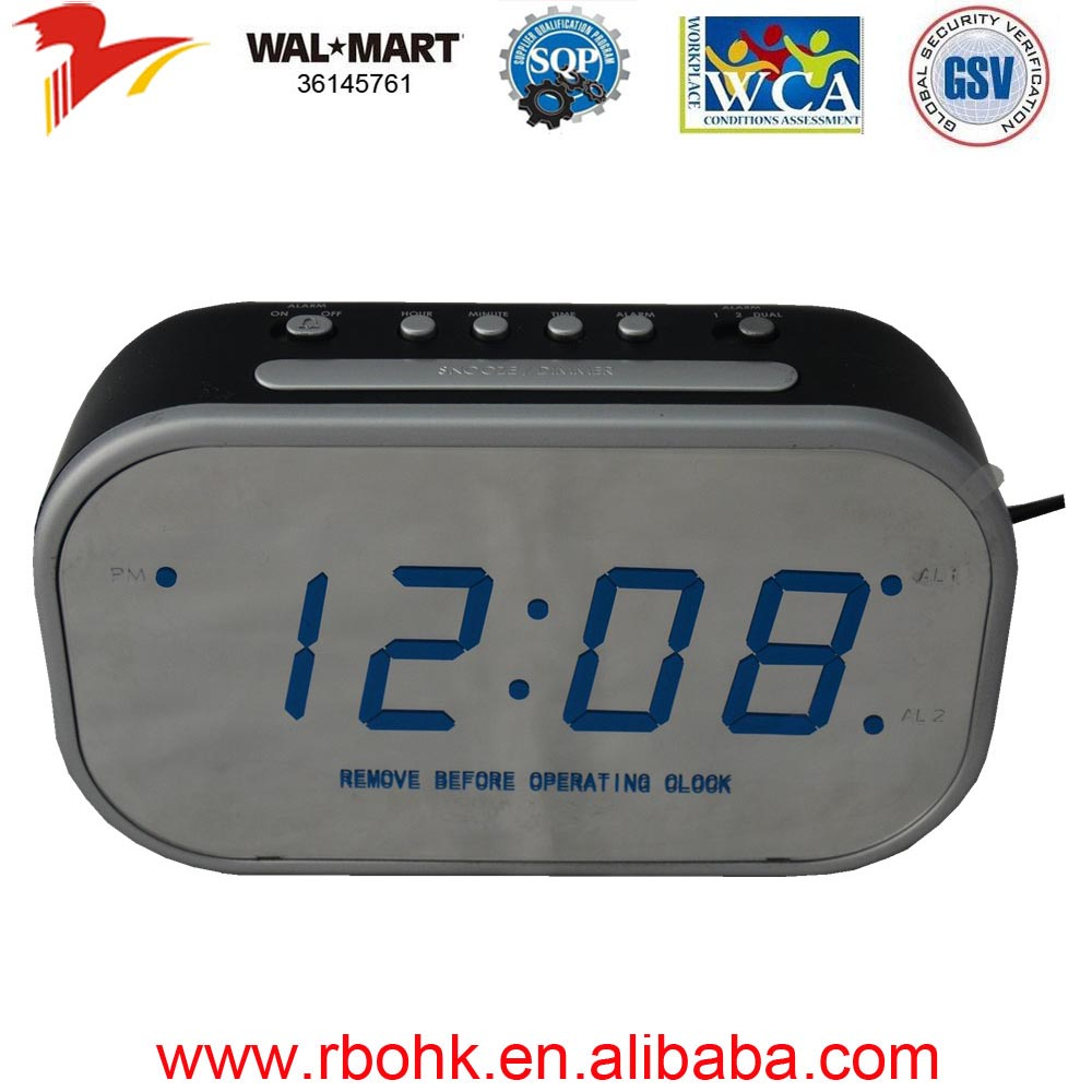 Twin bell alarm clock with big blue LED display