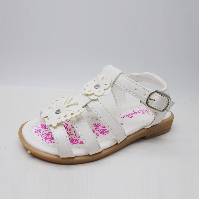 High quality new design childrens shoes soft PU leather soft sole girls flower sandals