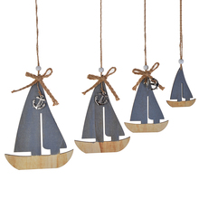 Wholesale Blue White Wood Artificial Vintage Nautical Wall Art Beach Sailing Boat Anchor Rudder Fish Shabby Chic Sea Decorations