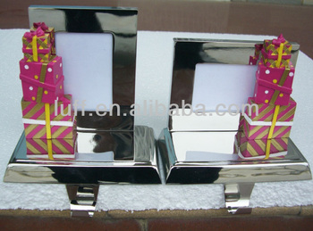 Stylish photo frame & pink gift boxes decorations christmas stocking holder