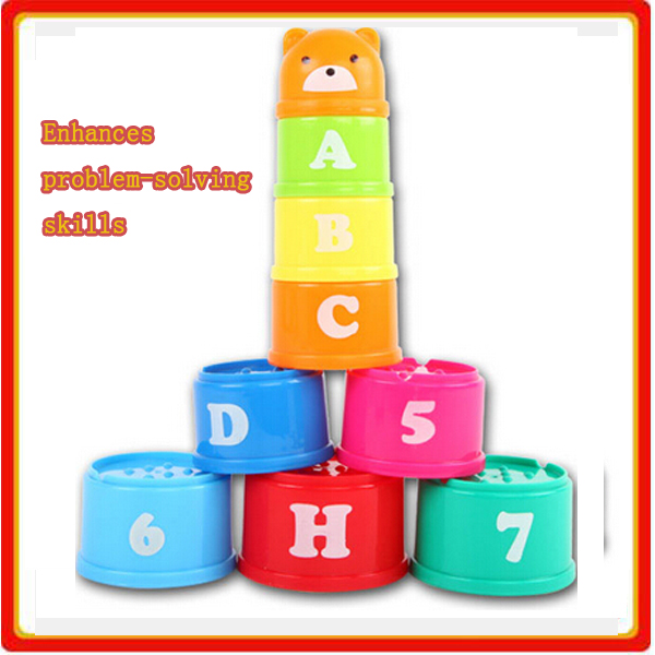 early educational baby plastic toddler stacking cup toys